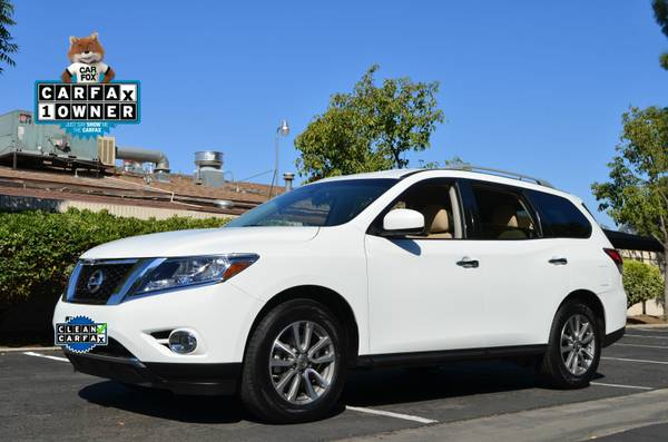 2015 NISSAN PATHFINDER SV 3RD ROW SUV V6 POWER WHITE PEARL BEAUTY
