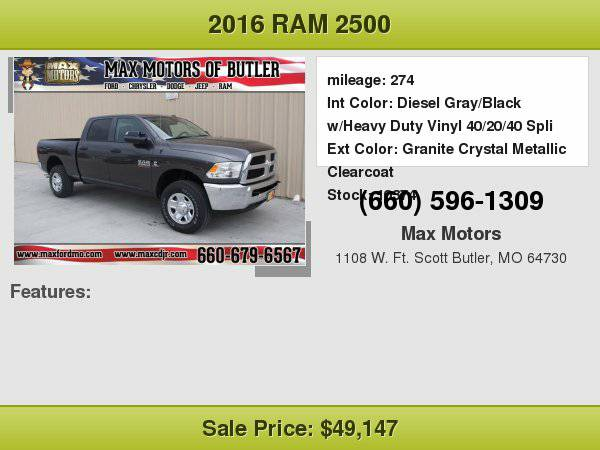 2016 RAM 2500 Tradesman **WE FINANCE**WE LOVE TRADE-INS**