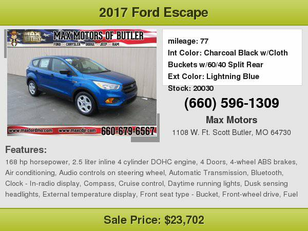 2017 Ford Escape S **WE FINANCE**WE LOVE TRADE-INS**
