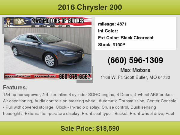 2016 Chrysler 200 LX **WE FINANCE**WE LOVE TRADE-INS**