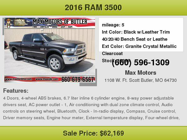 2016 Ram 3500 Laramie **WE FINANCE**WE LOVE TRADE-INS**