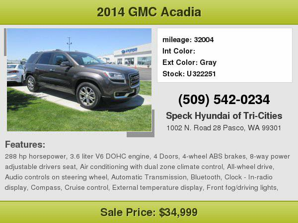 2014 GMC Acadia SLT-1 with