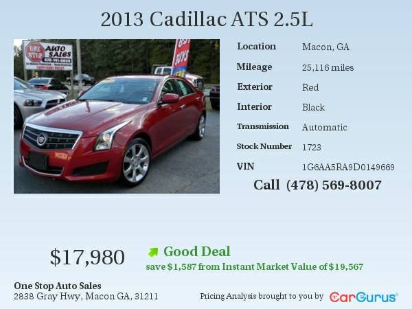 One Owner Clean Carfax 2013 Cadillac ATS