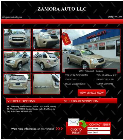 ◄►2005 Chevrolet Equinox call for miles Unspecified