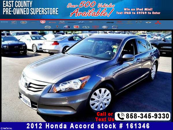2012 Honda Accord Sdn LX Stock #161346