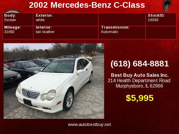2002 Mercedes-Benz C-Class C230 Kompressor 2dr Hatchback Call for...