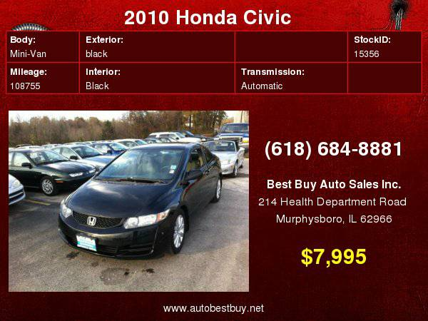 2010 Honda Civic LX 2dr Coupe 5A Call for Steve or Dean