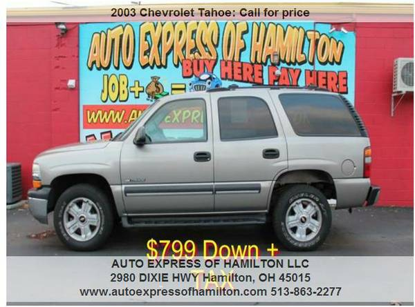2003 Chevrolet Tahoe $799 Down+TAX BUY HERE PAY HERE