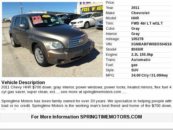 2011 Chevrolet HHR LT $700 down/limited warranty/carfax Buy Here Pay...