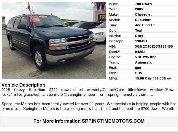 2005 Chevrolet Suburban 4dr 1500 LT $700 down/carfax/clean...