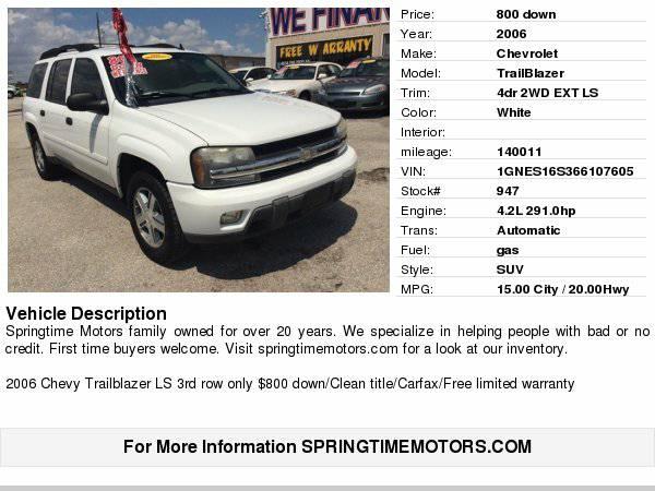 2006 Chevrolet TrailBlazer 4dr 2WD EXT LS $800 down/Free carfax Free...