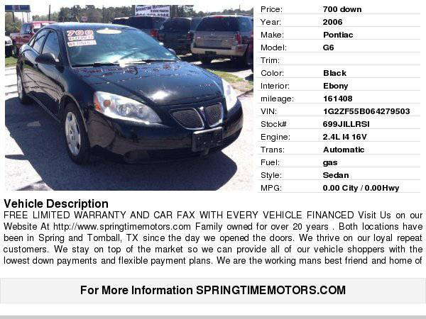 2006 Pontiac G6 $700 down/carfax/clean title/limited warranty Clear...