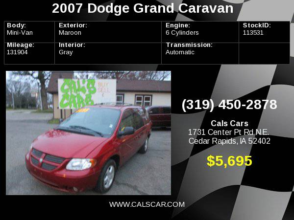 2007 Dodge Grand Caravan 4dr Wgn SXT *Ltd Avail* with Tachometer