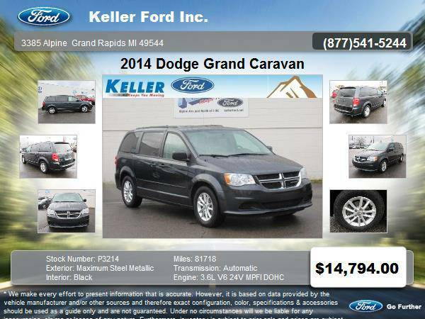 Stock P3214 2014 Dodge Grand Caravan 4 Door Passenger Van