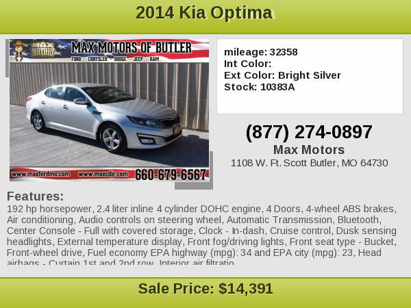2014 Kia Optima LX **WE FINANCE**WE LOVE TRADE-INS**