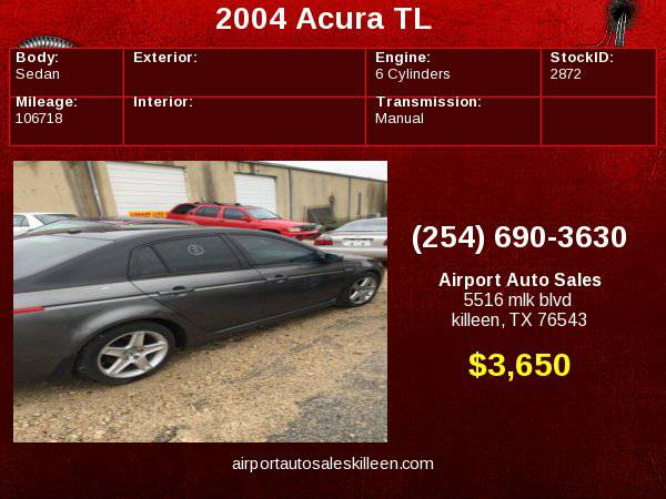 2004 Acura TL with 4-way pwr passenger seat
