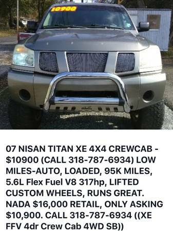 2007 NISSAN TITAN XE 4X4 CREWCAB
