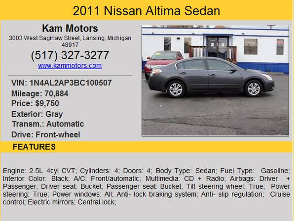 ***2011 Nissan Altima, with Warranty***