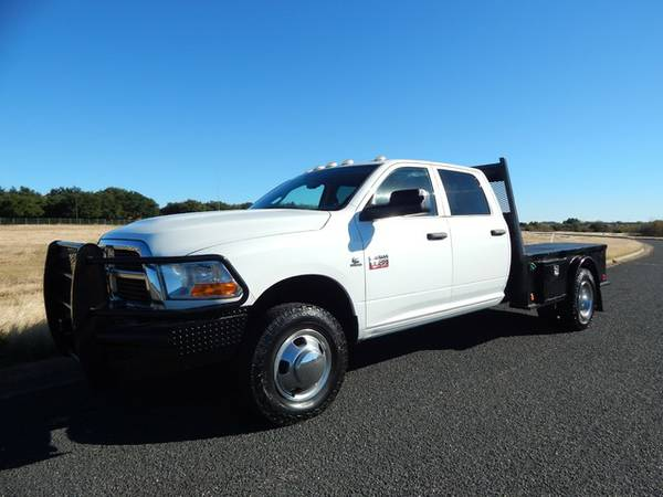 LOW MILEAGE CREW CAB FLAT BED-6SPEED-4X4-2012 RAM 3500-1OWNER TRUCK!