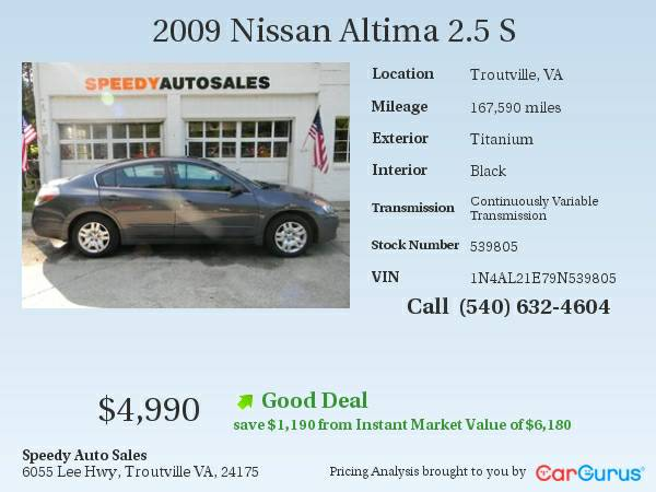 2009 NISSAN ALTIMA - TWO OWNER & ACCIDENT FREE!