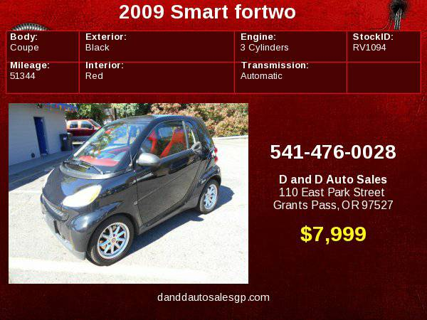 2009 Smart fortwo 2dr Cpe Pure D AND D AUTO
