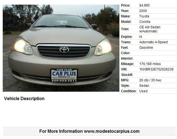 2006 TOYOTA COROLLA CE SEDAN 4D AUTO GAS SAVER GREAT BUY