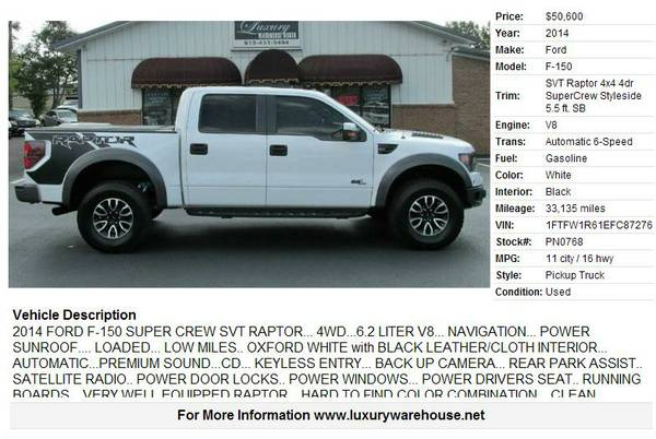 2014 Ford F-150 White 33135 miles