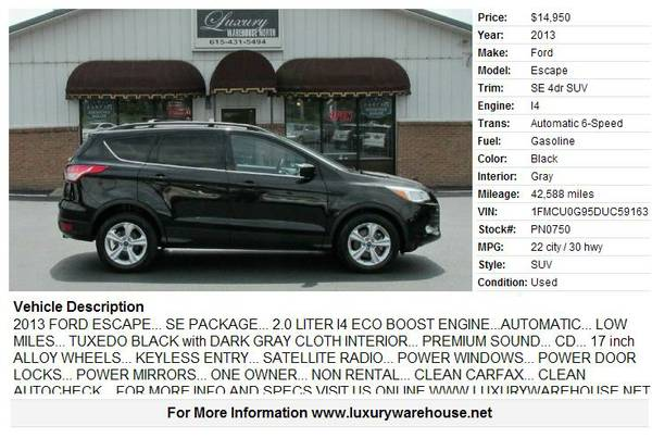► ►2013 Ford Escape - I4 Black