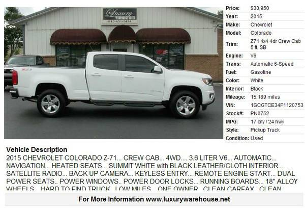 ► ►2015 Chevrolet Colorado 15189 miles V6► ►
