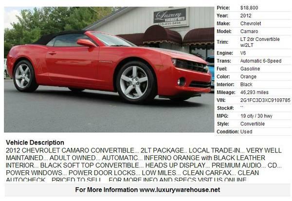 >>2012 Chevrolet Camaro