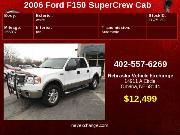 2006 Ford F150 SuperCrew Cab Lariat Pickup 4D 5 1/2 ft Financing...
