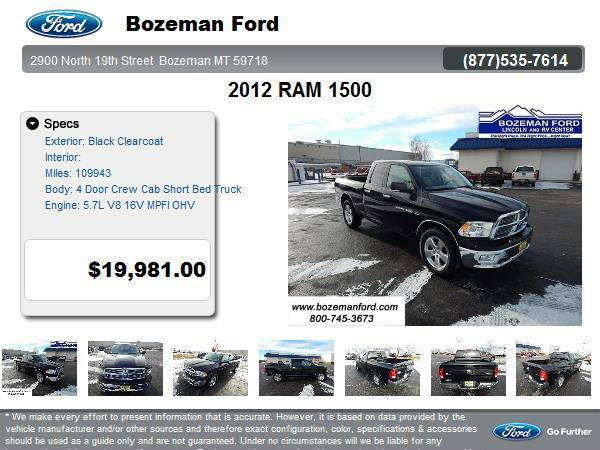 2012 RAM 1500 4 Door Crew Cab Short Bed Truck