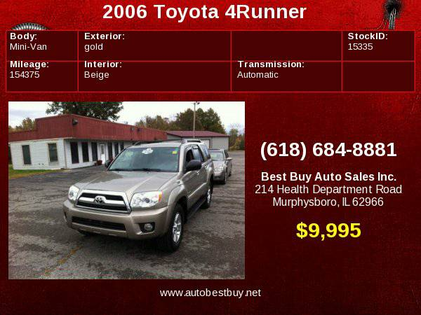 2006 Toyota 4Runner SR5 4dr SUV 4WD w/V6 Call for Steve or Dean