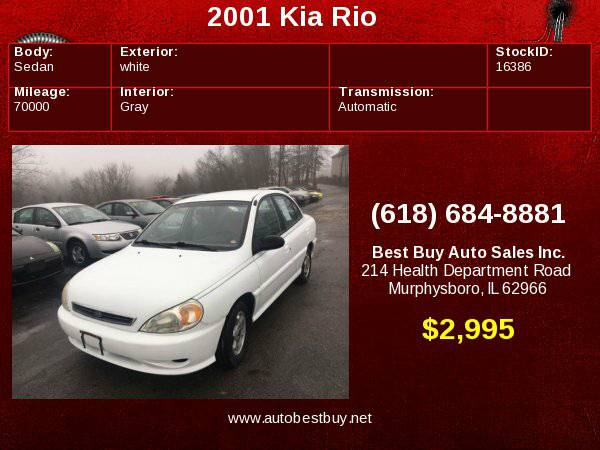 2001 Kia Rio 4dr Sedan Call for Steve or Dean