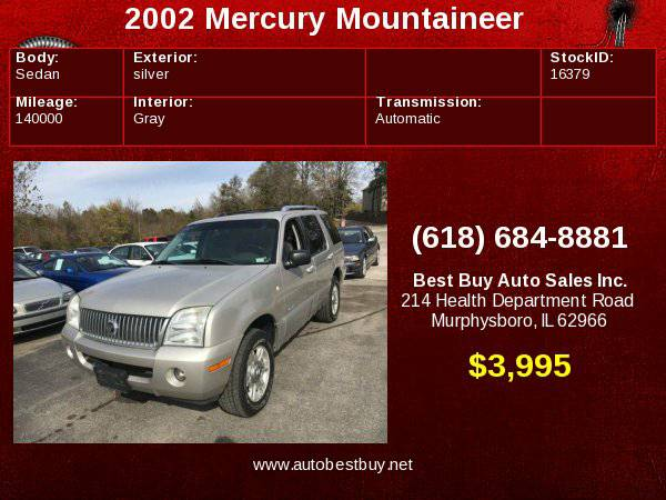 2002 Mercury Mountaineer AWD 4dr SUV Call for Steve or Dean