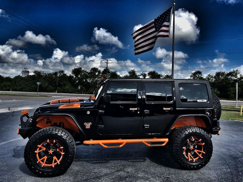 Photo Used 2018 Jeep Wrangler JK Unlimited BLACK N ORANGE HARDTOP CUSTOM LIFTED LEATHER