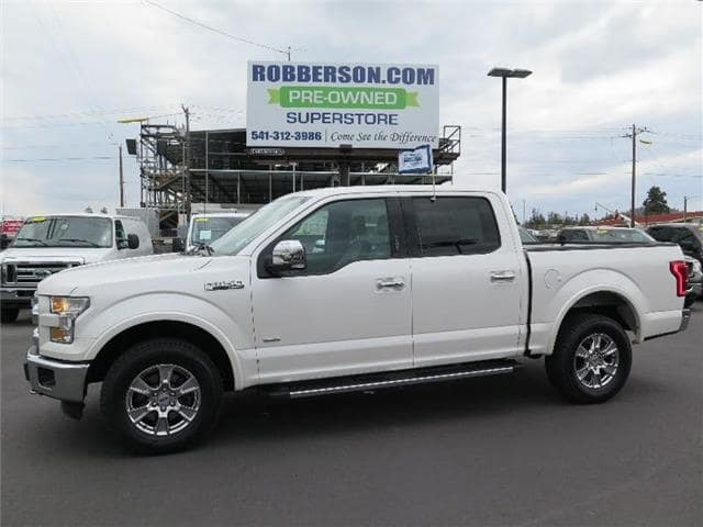 Photo Used 2015 Ford F-150 Lariat 4x4 SuperCrew Cab Styleside 5.5 ft. box 145 CREW CAB SHORT BED TRUCK For Sale Bend, OR