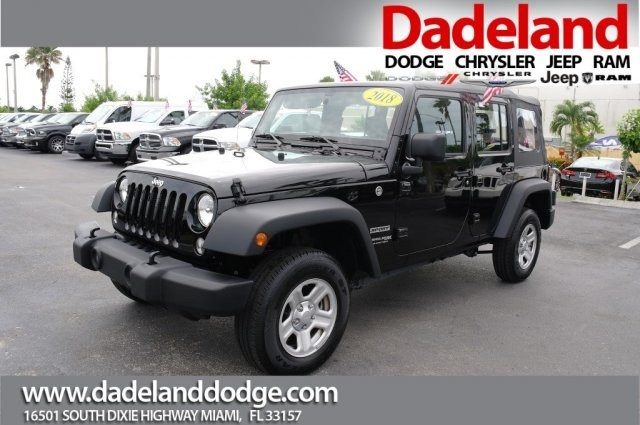 Photo Certified Used 2018 Jeep Wrangler JK Unlimited Sport SUV in Miami