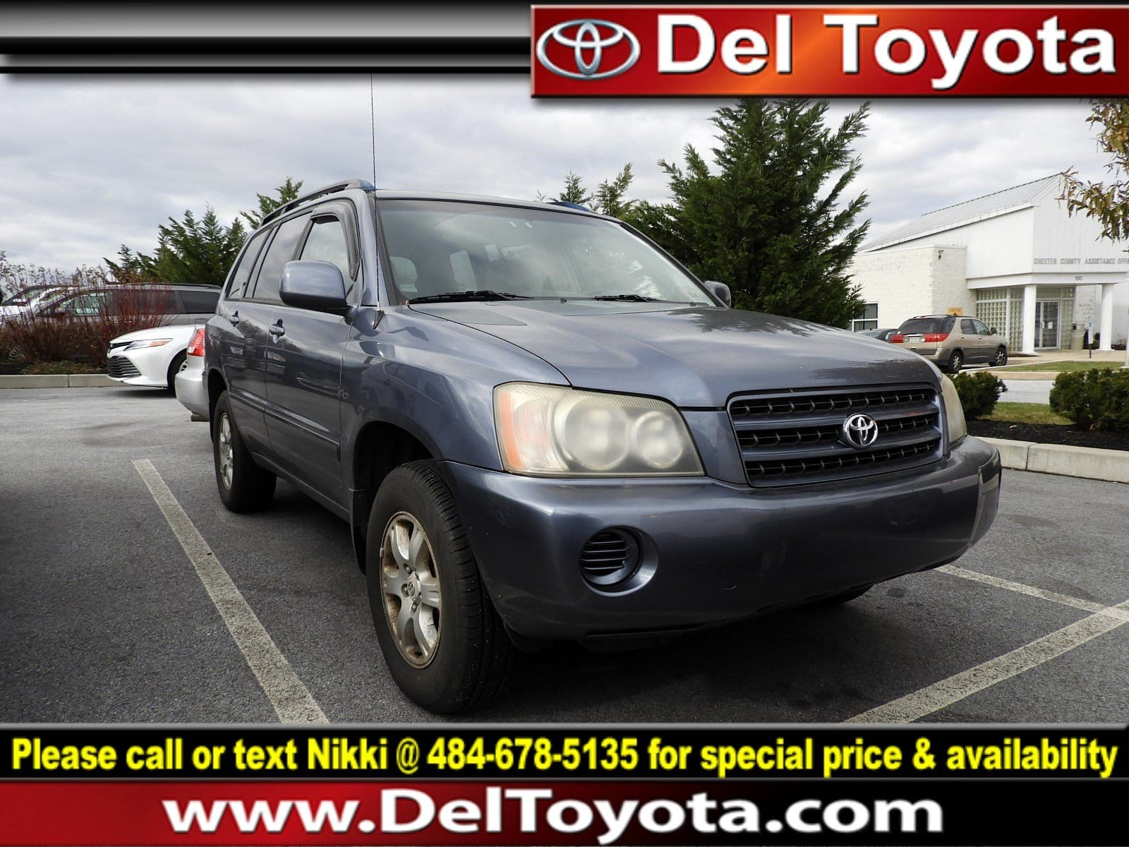 Photo Used 2003 Toyota Highlander For Sale in Thorndale, PA  Near West Chester, Malvern, Coatesville,  Downingtown, PA  VIN JTEHF21A730155150