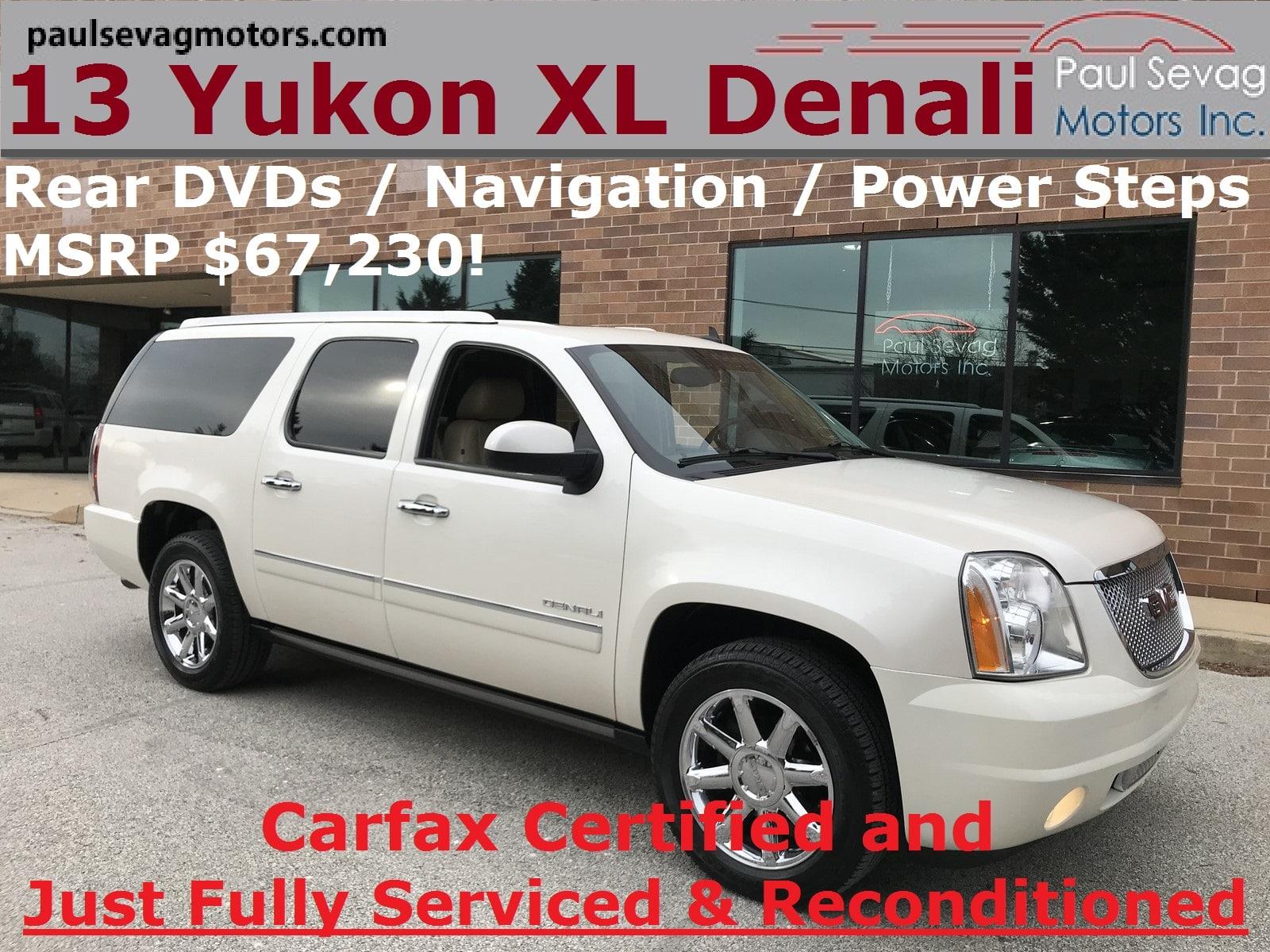 Photo Used 2013 GMC Yukon XL 1500 Denali AWD For Sale at Paul Sevag Motors, Inc.  VIN 1GKS2MEF9DR249720
