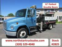 Used 1998 Freightliner FL70 CAT Flatbed with Knuckle Boom