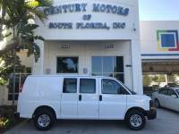 2008 GMC Savana Cargo Van Vinyl Captains Chairs Steel Partition Steel Racks and Bins