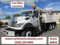 Used 2009 International Workstar 7600 Cummins Flatbed Crane Truck